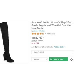 """01e9ca2db34 Journee Collection Shoes - Journee """"Maya Wide Calf Over the Knee Boot"""" size  7"""